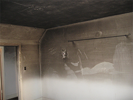 smoked wall and ceiling